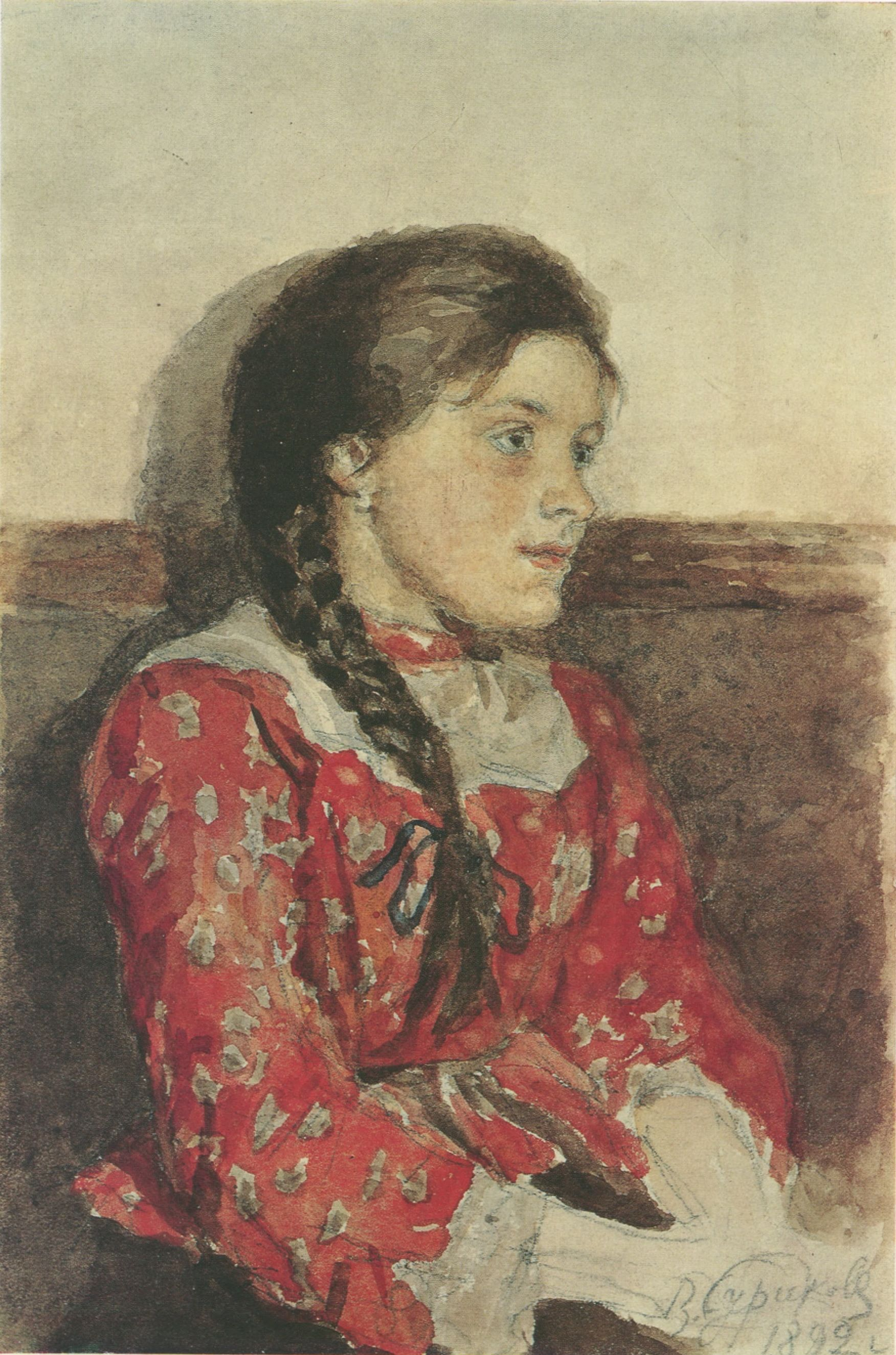 50. Девушка в красной кофте. 1892 (Young Girl in a Red Shirt. 1892)